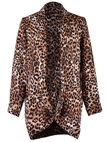 Lush Fierce Bold Cheetah Print One Breasted Open Front Oversized Jacket Blazer