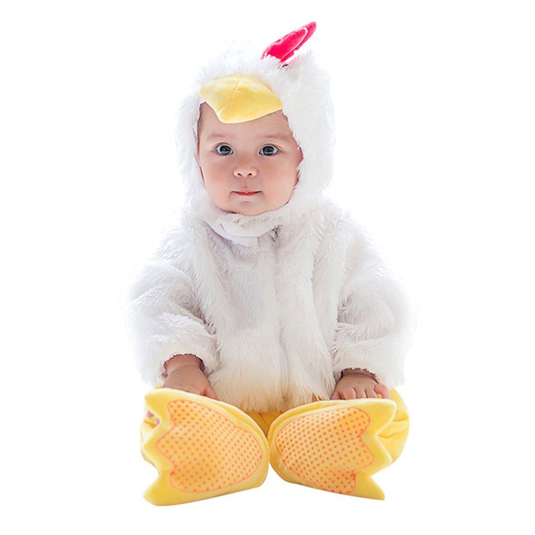 Unisex Kids Baby Halloween Romper Pajamas Cosplay Costume Animal Sleepwear (7-9m, chicken)