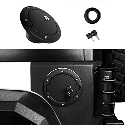 Locking Gas Cap, SEMTION Fuel Tank Door for Jeep Wrangler JK JKU Rubicon Sahara Unlimited Willy Sport 2007-2020: Automotive