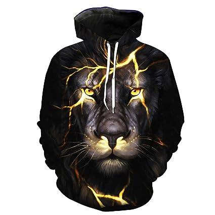 WY1688 Unisex Sudaderas en 3D Animales Impresos suéter Sudadera con Capucha Bolsillos,XXL