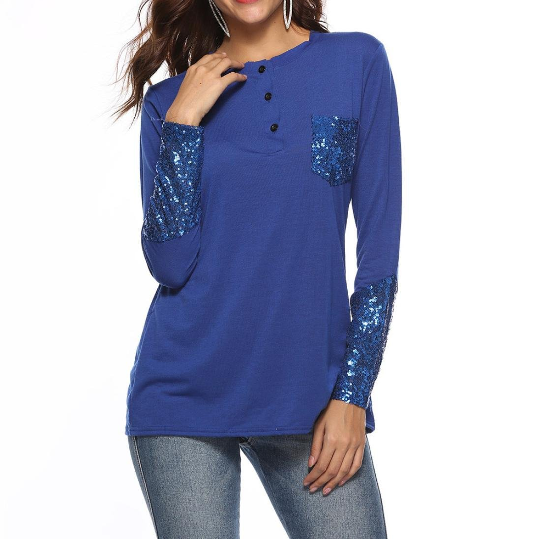 Orangeskycn Long Sleeve Shirts For Women Button Pocket Squined Tunic Blouse Tops