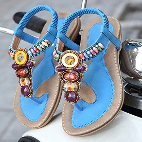 Womens Slip T JULY Flip Blue Flat Flops Bling On Gemstones Dressy Sandals Retro Rhinestone Bohemian Summer Ladies Slippers rr5qwW6xRA
