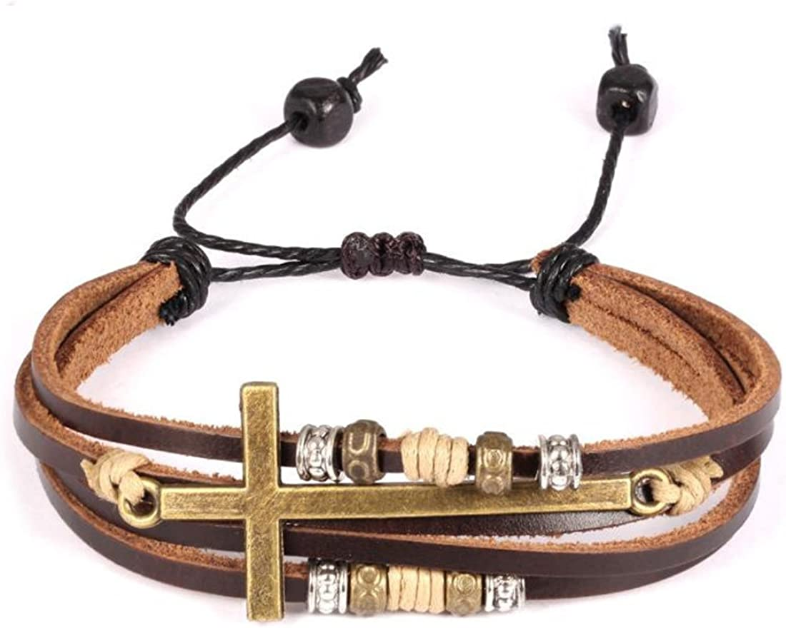 Feraco Religious Cross Wrap Bracelets Women Leather Christian Jewelry For Confirmation Gifts, Adjustable: Clothing