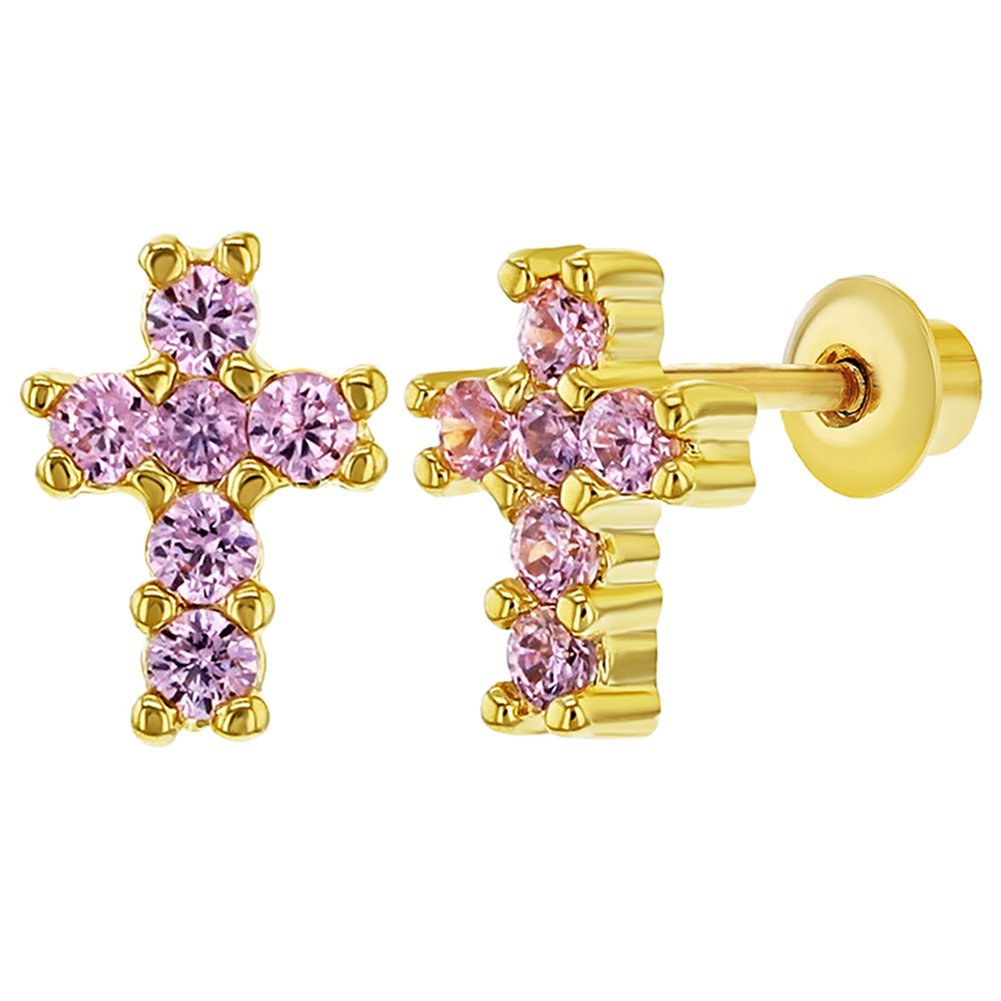 18k Gold Plated Tiny Pink CZ Religious Cross Screw Back Baby Girl Earrings In Season Jewelry 03-0790-CN