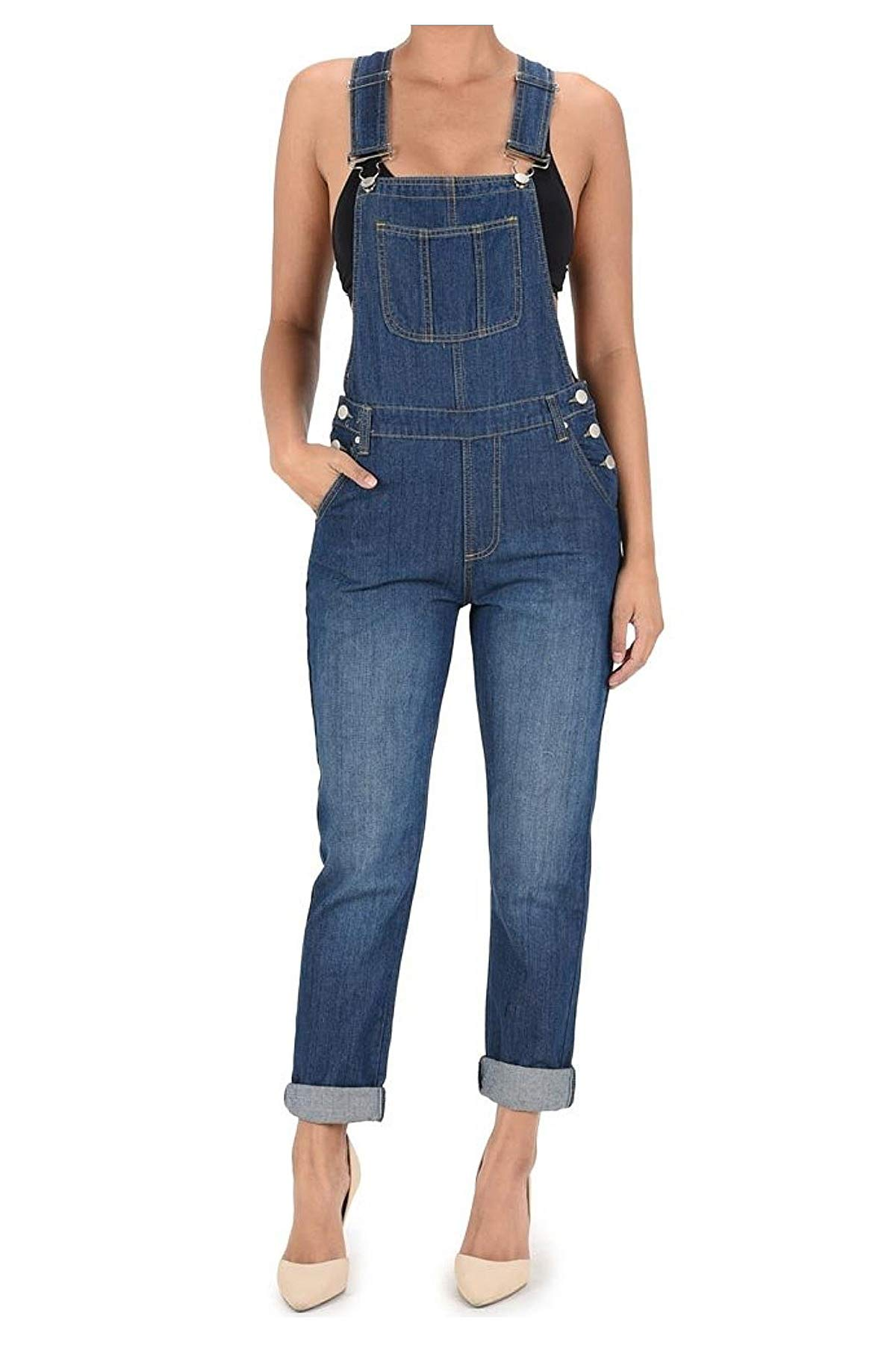 TwiinSisters Women's Basic Boyfriend Fit Denim Bib Overalls Plus (Large, Blue #Rjho170) by TwiinSisters