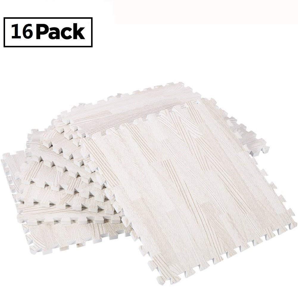 16 Pcs 30X30X1.2cm Eva Wood Grain Cushioned Floor Mat Interlocking Foam Puzzle, Anti Fatigue Extra Thick Children Play Flooring Mats (White Wood Grain) FS-LIFE