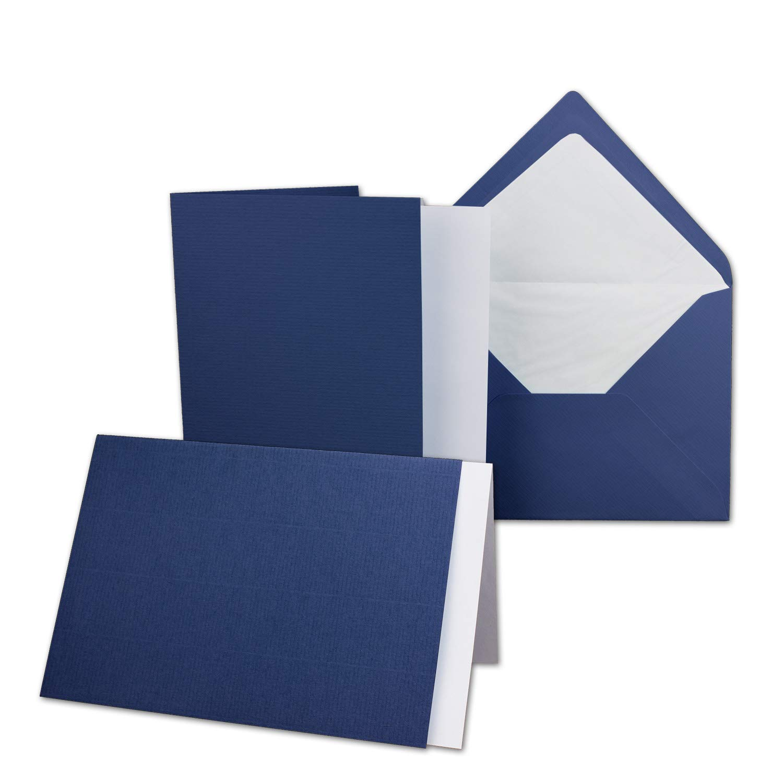 DIN B6-12 x 17 cm gro/ßes Kartenpaket mit 50 Faltkarten passenden Einlegebl/ättern in creme /& 50 gef/ütterten Umschl/ägen 120 x 170 mm in Dunkelrot! 50 Sets gerippt