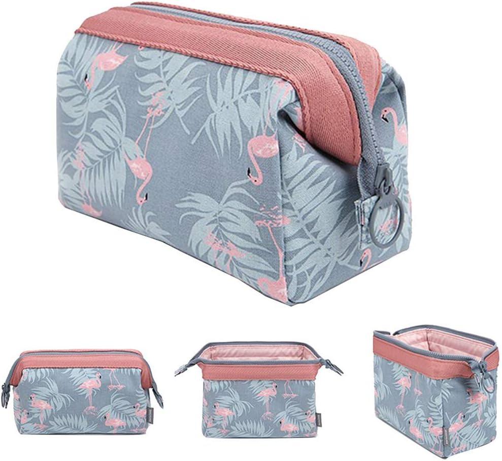 SDBPWD Bolsa de maquillaje/bolsa de viaje para cosméticos/kit de neceser para cosméticos/neceser con cremallera, para mujer, color Light Blue Flamingo: Amazon.es: Oficina y papelería