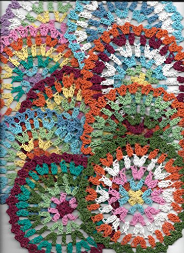 Granny's Hutch 9psc,Crochet Doilies 5in Set,Rainbow Colors Doilies, Lace doilies,Colorful Mandala Doilies (1 of Each)