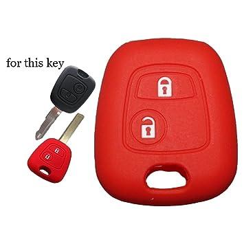 Funda de silicona para llave de coche. Especial para mando a distancia de 2 botones, apta para Peugeot 107, 207, 307, 407, 106, 206, 306, 406, 205, ...