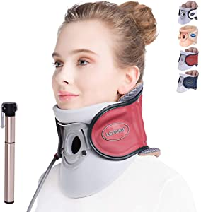 LEAMAI Standard Cervical Neck Traction Device - Adjustable Neck Stretcher Collar for Home Traction Spine Alignment -(C02,Red)