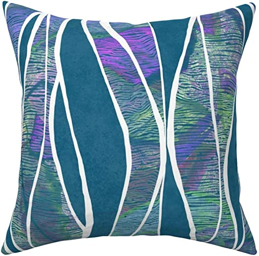 Abstract Retro Water Waves Throw Pillow Cover w Optional Insert by Roostery