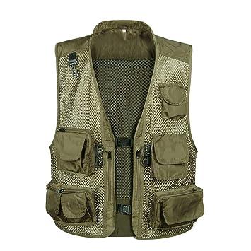 Daoba Herren Mesh Multifunktionsweste Summer Outdoor Sport Weste mit Vielen Taschen f/ür Angeln Jagd Camping Safari