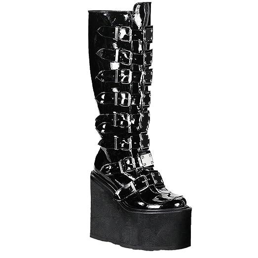Demonia Swing-815 - Gothic Industrial Punk Mega Plateau Stiefel Schuhe 36-43, Größe:EU-37/US-7/UK-4