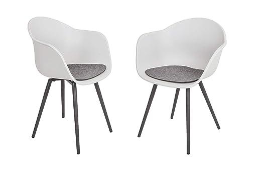 Garden Pleasure Zara - Juego de 4 sillas de jardín, Color Blanco ...