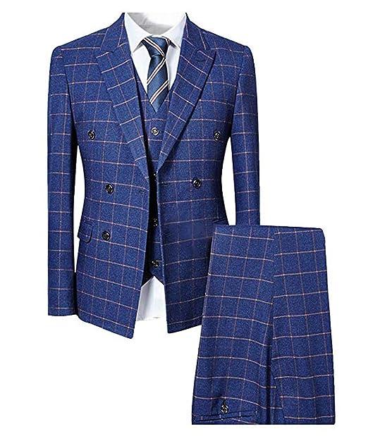 c887f0033da5 Mens Suits 3 Piece Classic Tweed Check Suit Slim Fit Herringbone Vintage  Suit Jacket Navy Blue Formal Business Blazer Waistcoat Trousers   Amazon.co.uk  ...