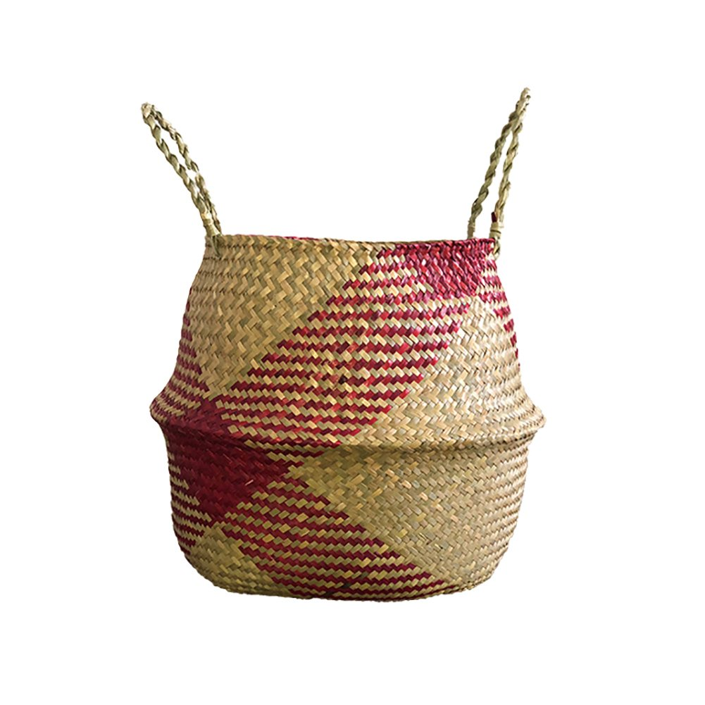 Per Hand-Woven Basket Colorful Natural Seagrass Storage Tote Belly Organizer With Handle Foldable For Toys Laundry Picnic Plant Pot Fruits-Black, S(22×20cm) S(22×20cm)