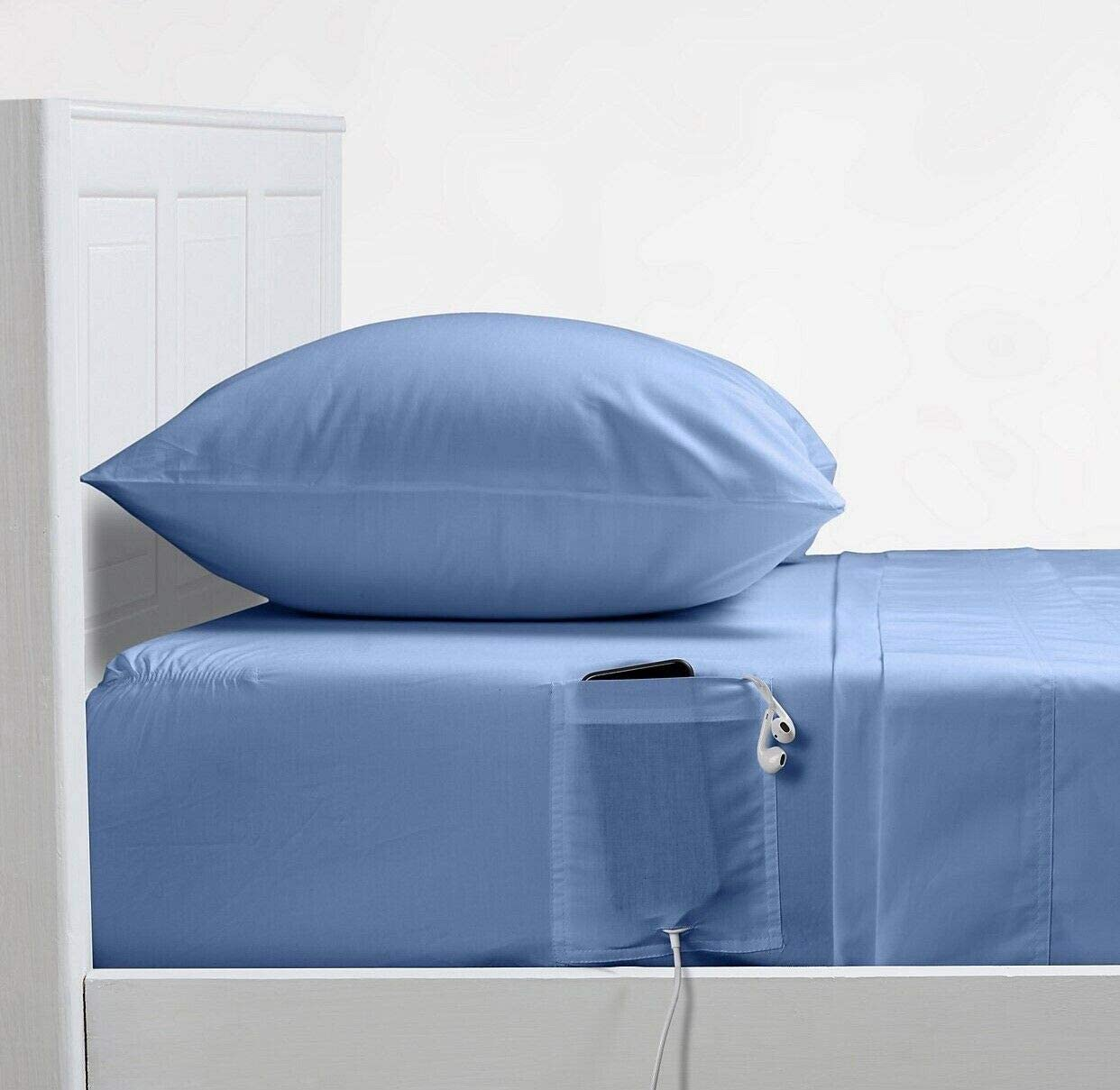 Amazon Com Bed Bath Beyond Campus Smart Cotton 250 Thread Count Full Full Xl Sheet Set In Placid Blue Home Kitchen