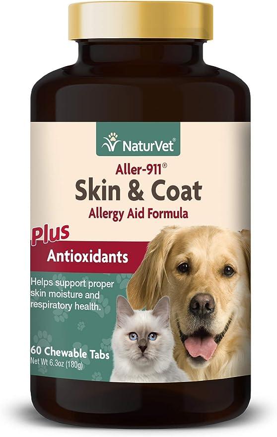 NaturVet aller-911 Skin & Coat alergia Ayuda fórmula Plus antioxidantes para Perros y Gatos, 60 CT chewabletablets, Fabricado en Estados Unidos: Amazon.es: Productos para mascotas
