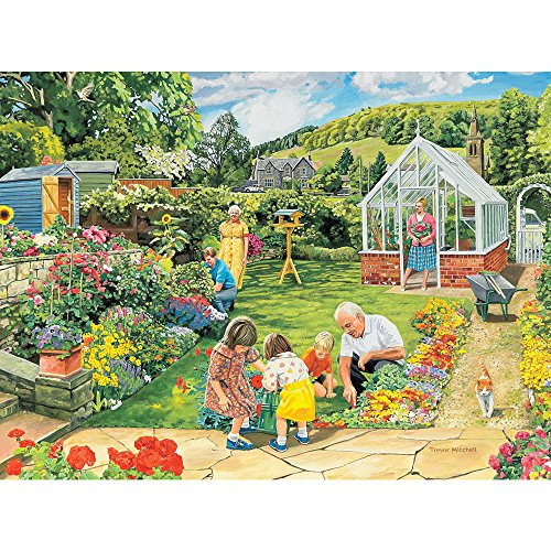 Bits and Pieces - 300 Large Piece Jigsaw Puzzle for Adults - Gardening with Granddad, Summer Flowers - by Artist Trevor Mitchell - 300 pc Jigsaw