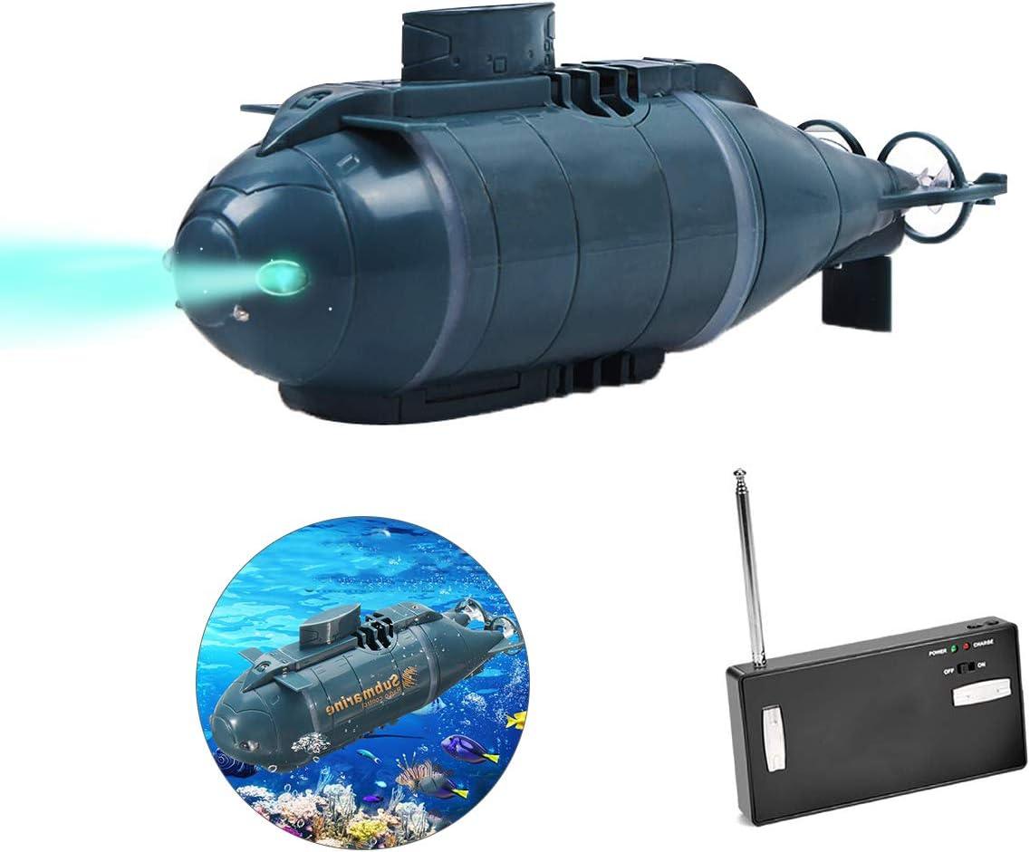upstartech Juguete Submarino RC Mini Submarino RC Barco de Carrera rápida Modelo subacuático Barco de Control Remoto DIY Juguete Regalo educación