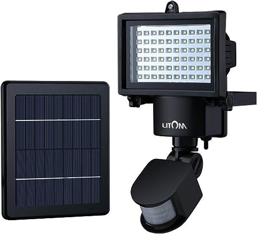 Litom Luz solar de 60 LED, Focus solar con 2 modos, Luz solar con sensor de movimiento, Lamparas solares exterior para patio, jardín, pasillo, garage: Amazon.es: Iluminación
