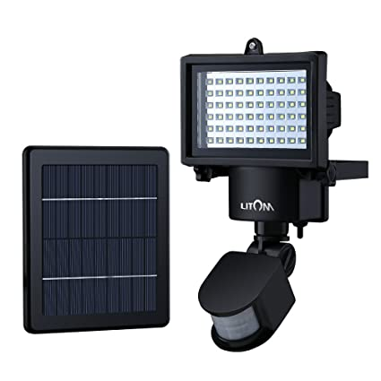Litom Lamparas Solares 60 LEDs con Sensor Movimiento Luces solares Impermeable para la Seguridad del Jardin,Patio,Pared,Garage y otras Areas Exterior