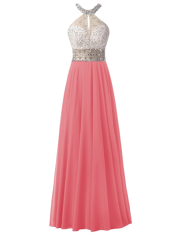 Dresstells? Long Chiffon Halter Neck Prom Dress With Beading Evening Party Wear