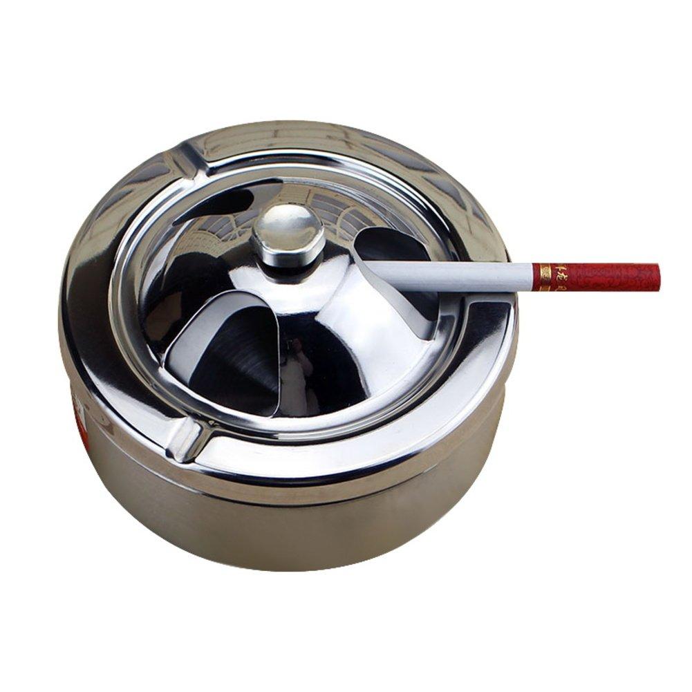 YVJEMNSM Posacenere in acciaio inox rotante, Posacenere antivento Posacenere con coperchio Titolare di cenere per i fumatori-A VNEDMSMV