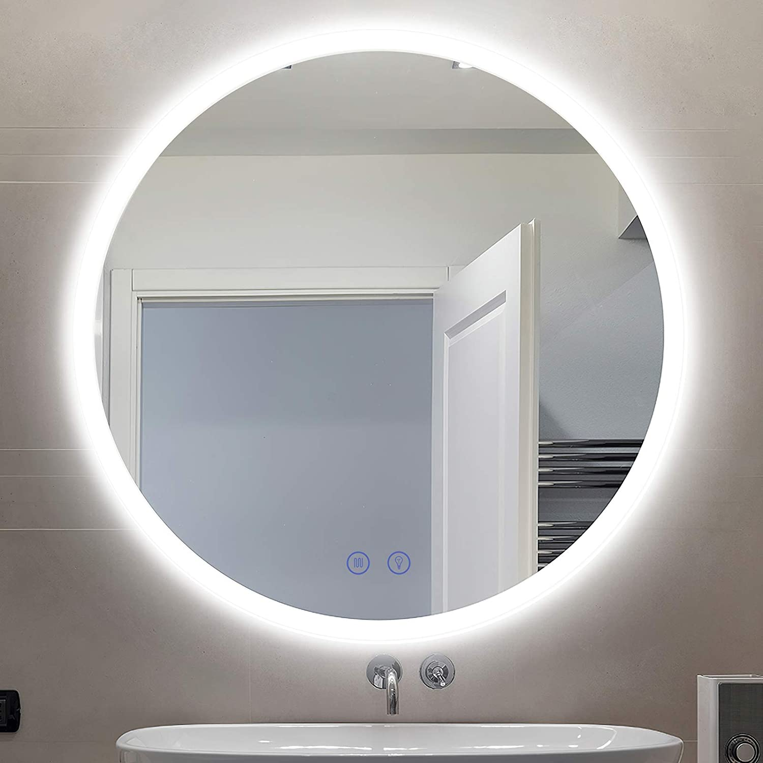 Citymoda Led Lighted Bathroom Mirror Large Round 32 In Wall Mount Vanity Mirror Frameless Led Backlit Mirror Lighted Mirror With Touch Dimmer Switch Anti Fog 3 Color Tones