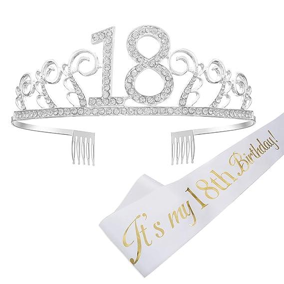 Feliz Cumpleaños 18TH, 18tth Plata Cristal Tiara Corona de Cumpleaños, Banda de Satén Brillante Its My 18th Birthday (Es mi Cumpleaños Número 18), ...