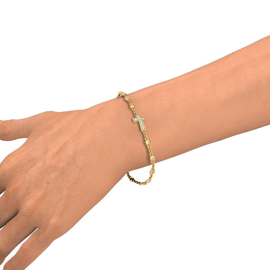 18K Yellow Gold IJ| SI 0.221 cttw Round-Cut-Diamond identification-bracelets Size 7.25 inches