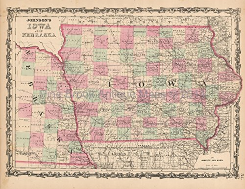 Nebraska Iowa Antique Map Johnson 1863 Original Decor History Ancestry Anniversary Gift Ideas
