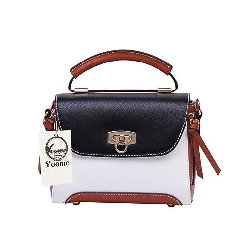 fb0ef3cd55f5 Yoome Color Blocking Mini Shoulder Handbags for Women Crossbody Bags for  Girls with Tassel - Black