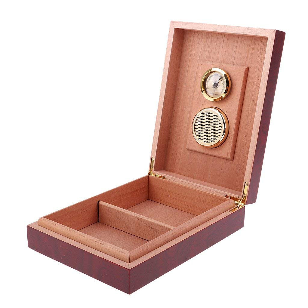 Cedar Wood Cigar Humidor with Hygrometer and Humidifier,Small Cigar Box Holds 6-12 Cigars