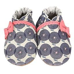 Robeez Petal Pop Crib Shoe (Infant), Grey/Sorbet, 6-12 Months M US Infant