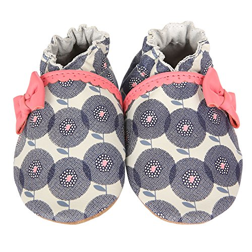 Robeez Petal Pop Crib Shoe (Infant), Grey/Sorbet, 12-18 Months M US ()