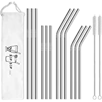 Hiware 12-Pack Reusable Stainless Steel Metal Straws with Case - Long Drinking Straws for 30 oz and 20 oz Tumblers Yeti…