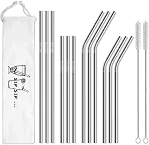 Hiware 12-Pack Reusable Stainless Steel Metal Straws with Case - Long Drinking Straws for 30 oz and 20 oz Tumblers Yeti Dishwasher Safe - 2 Cleaning Brushes Included