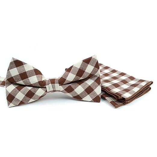 e5fb885ad45ed Amazon.com: Men's Brown Plaid Cotton Bow tie and Matching Pocket ...