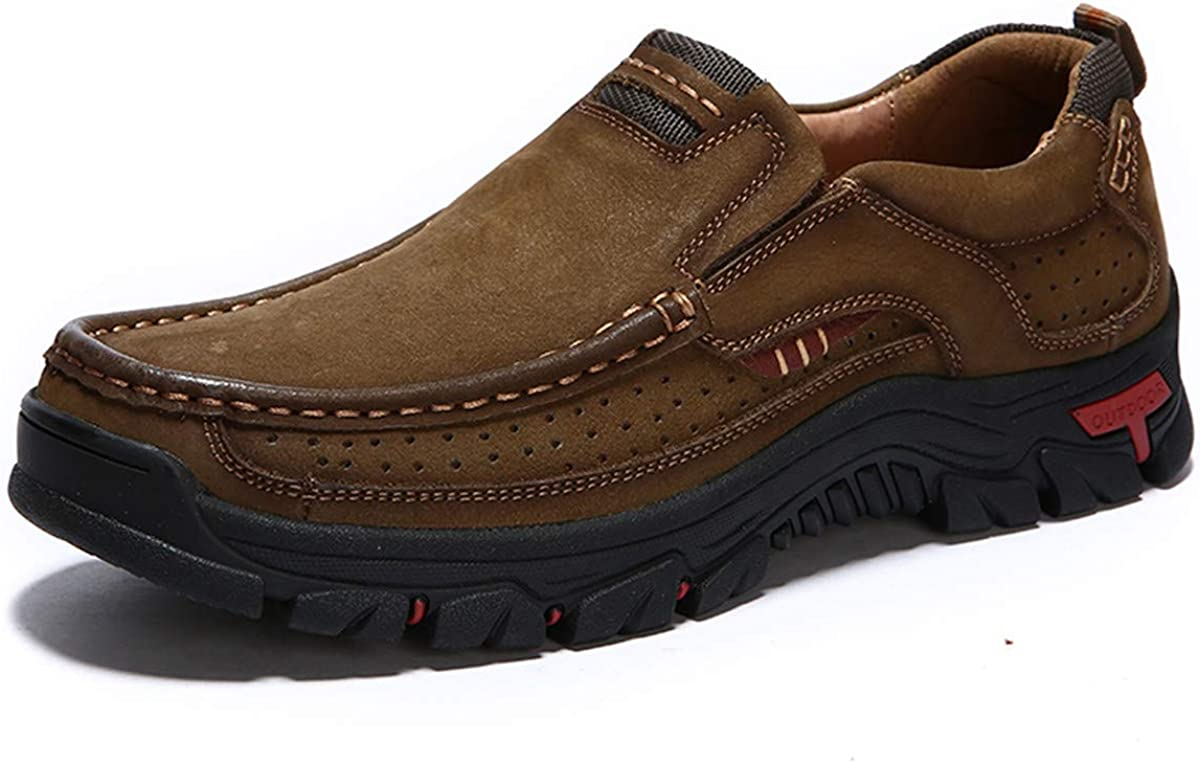 CHICLOVEY Men s Slip-on Hiking Shoes Leather Casual Outdoor Walking Sneaker