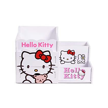 baf520121 Image Unavailable. Image not available for. Color: YOURNELO Cute Wooden Hello  Kitty DIY Pen Pencil Holder ...