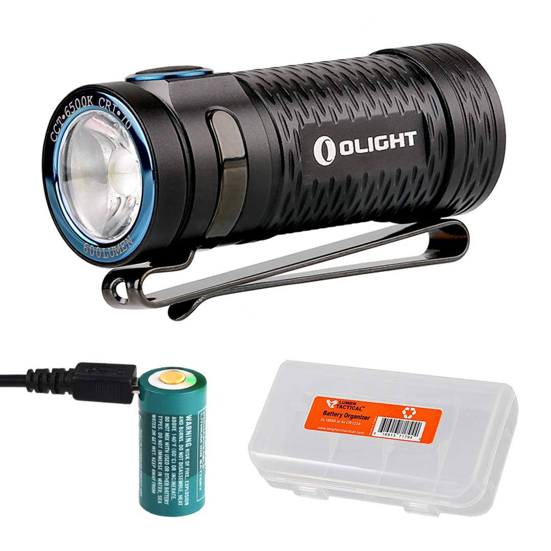 Olight S1 Mini 600 Lumens Ultra Compact Rechargeable LED Flashlight with LumenTac Battery Organizer (Cool White)