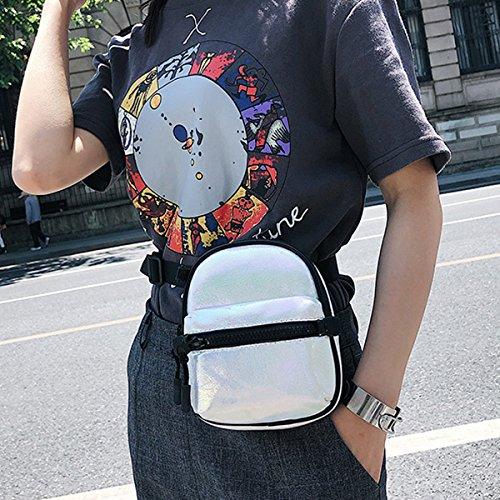 Bag Haute Design Luminous PU Crossbody Purse Silver Shard Leather Geometric White Lattice LA Bag Geometric Cdgqzwdx