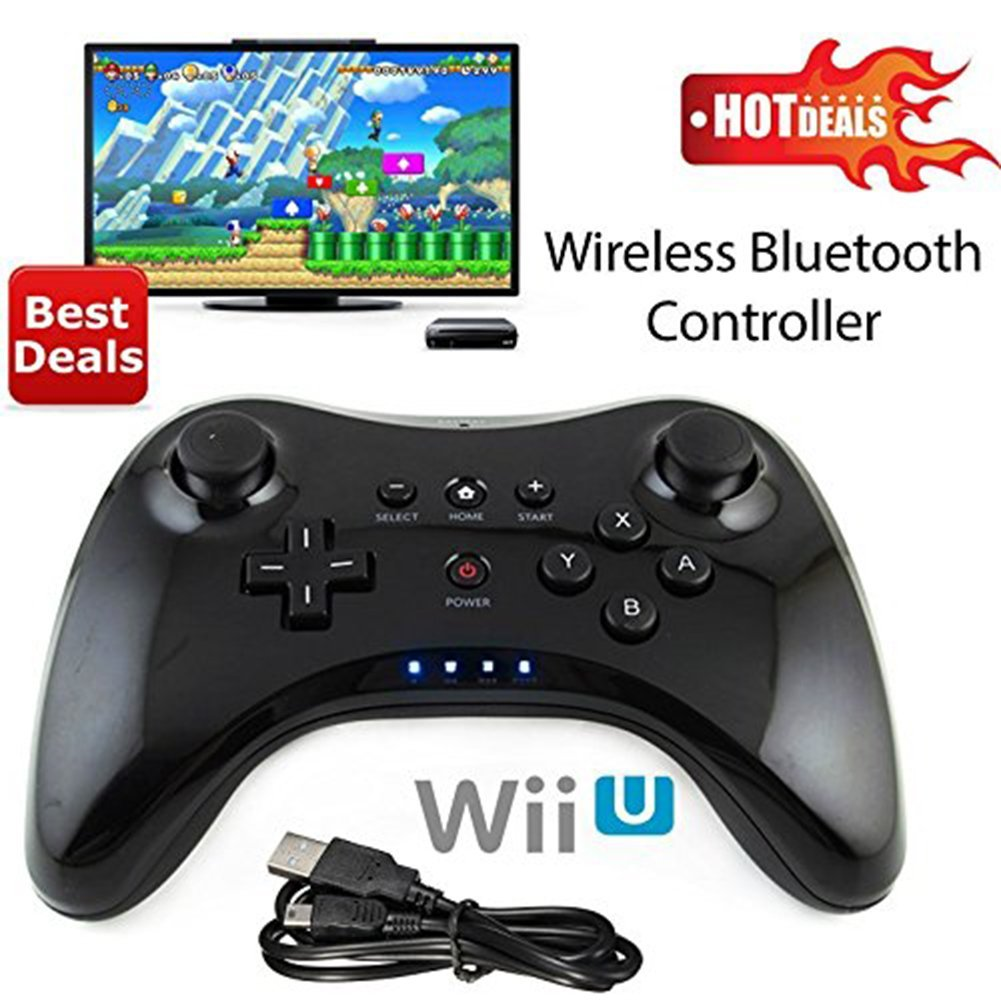Wireless Wii U Controller Pro Gamepad for Nintendo Wii, ixaer Black Classic Wireless Bluetooth Dual Analog Pro Controller Gamepad Joypad Remote for Nintendo Wii U with USB Charging Cable
