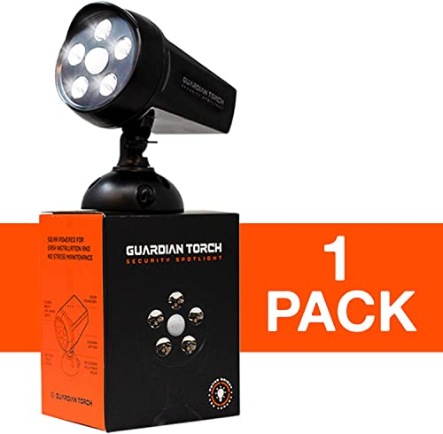 Guardian Torch – Home Security Spotlight 1 Pack Solar Powered Outdoor Light and Floodlight – 120 Motion Sensor, IP65 Water Resistant, 5 Bright LED Dusk to Dawn Technology