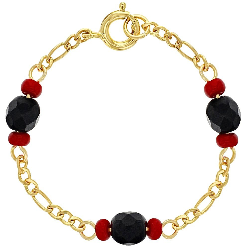 In Season Jewelry 18k Gold Plated Evil Eye Protection Simulated Azabache Baby Bracelet 4.5