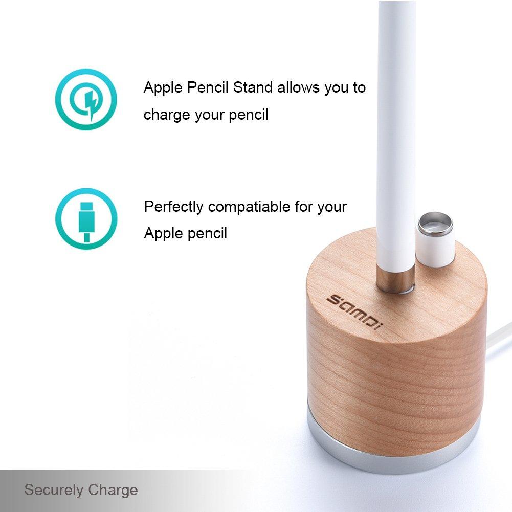 Black walnut SAMDI Aluminum /& Wood charging dock station with anti-slip base for Apple iPad Pro Pencil For Apple Pencil Charging Stand