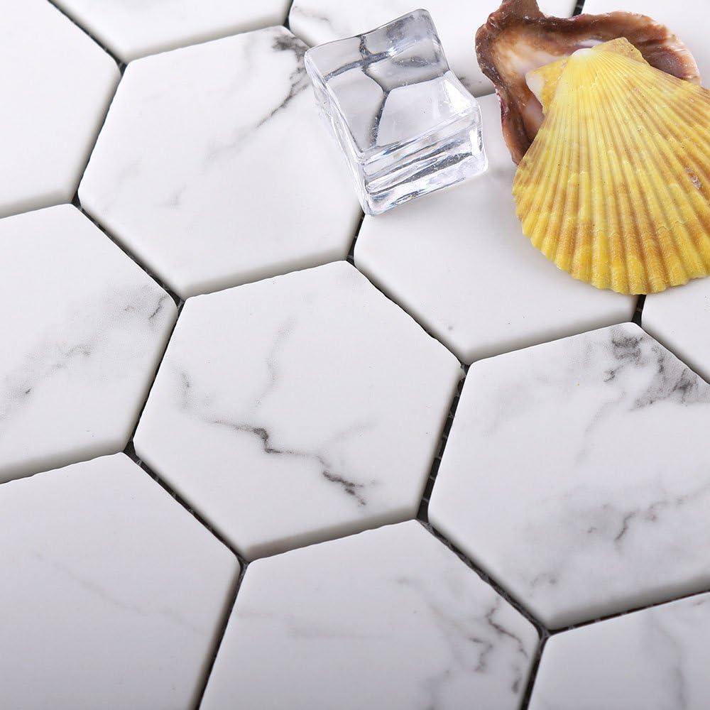 UW Statuario Lot de 6 dalles de mosa/ïque hexagonales en marbre Blanc Verre recycl/é. 73shq105 Statuario Blanc 300x302mm