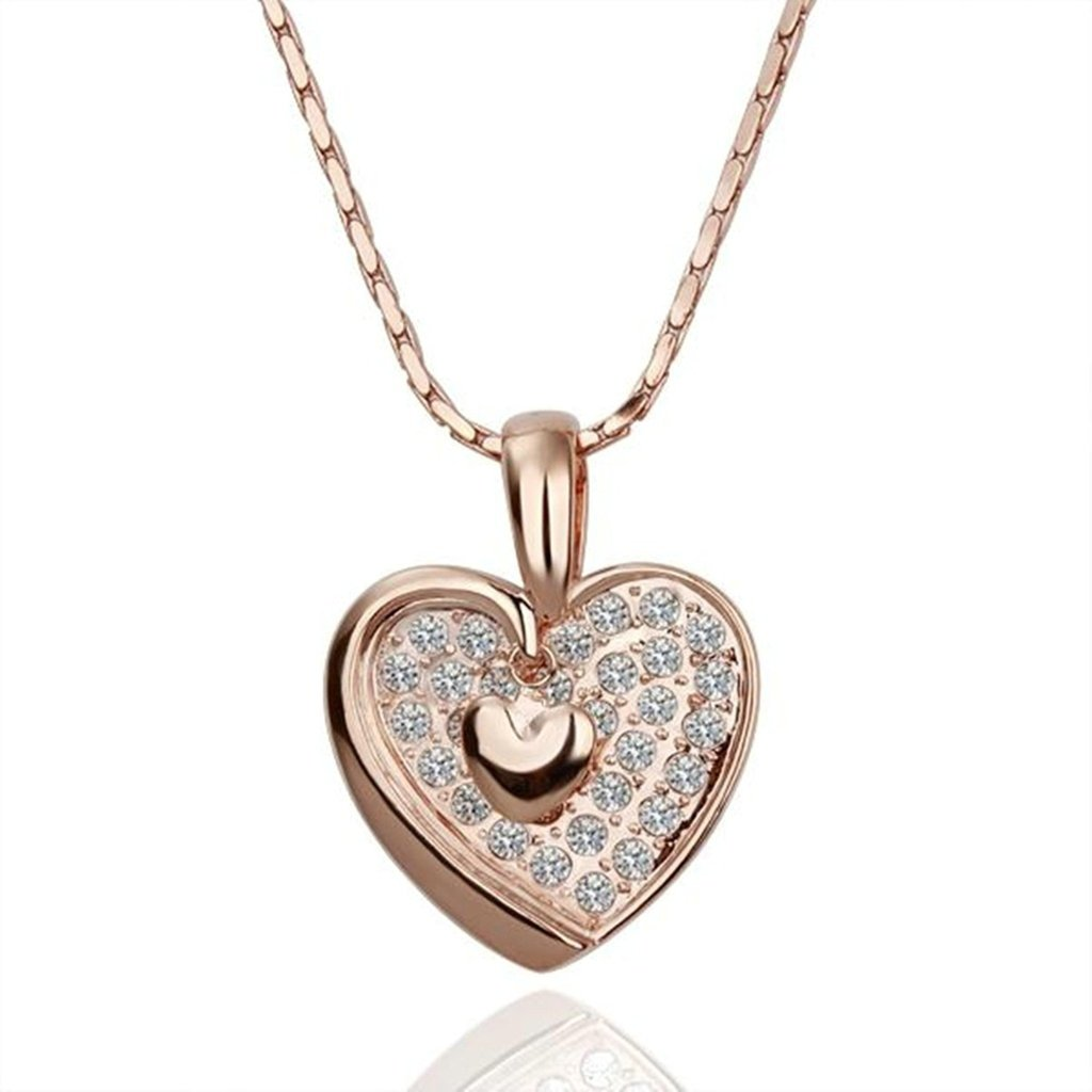 AMDXD Jewelry Gold Plated Women Pendant Necklace White Rose Gold Cubic Zirconia CZ Heart Shaped